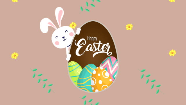 happy easter animated card with rabbit and eggs painted video