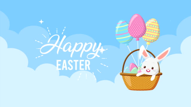 happy easter animated card with rabbit in basket and balloons helium video