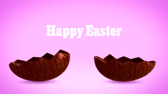 Happy Easter - Chocolate egg cracking, pink BG video