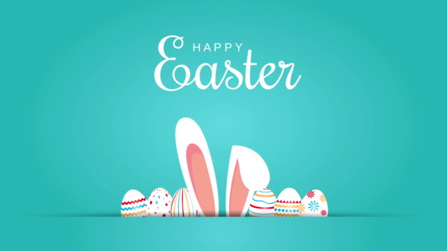 Happy Easter message with eggs and bunny ears. 4k animation