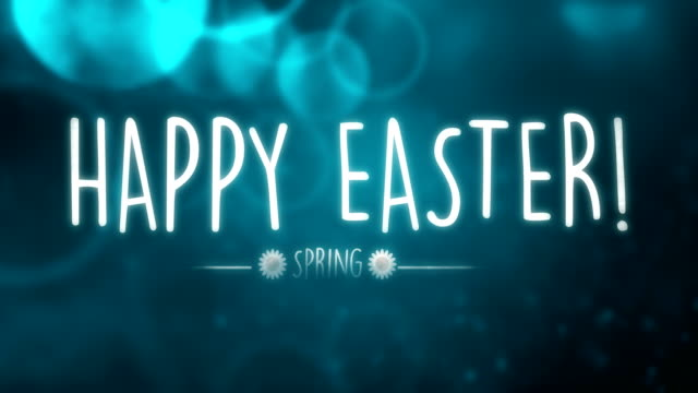 Happy Easter text Animation with blue background