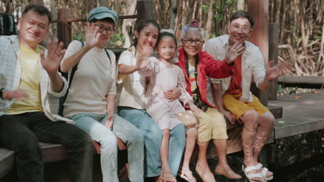 Happy face with Group of Thai family traveling nature-stock video video
