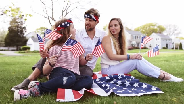 happy family celebrate the fourth of july at home happy family celebrate the fourth of july at home family 4th of july stock videos & royalty-free footage