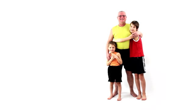 Happy family. Cheerful grandfather and grandchildren. Lucky childhood. video
