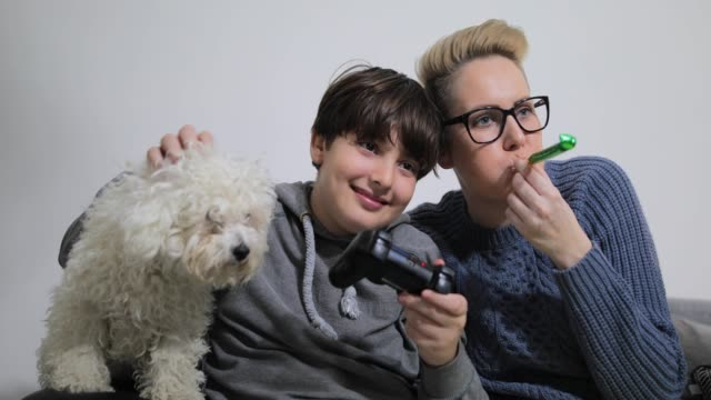 happy family enjoying weekend activities, playing video games while sitting on the couch at home - bichon frisé video stock e b–roll