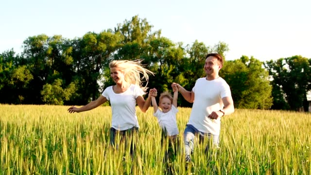 happy family: father, mother and son, running in the field dressed in white t-shirts - maglietta bianca video stock e b–roll