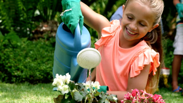 Famille heureuse ensemble de jardinage - Vidéo