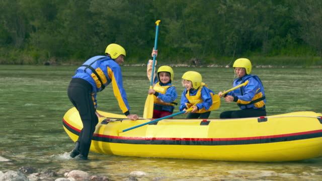 HD: Happy Family Going On A Rafting video
