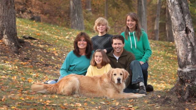 Happy family in Autumn video
