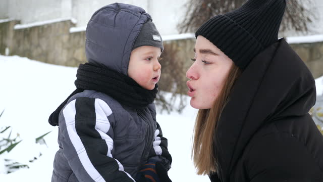 Happy family in winter day video