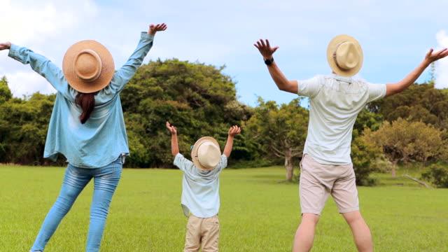 lycklig familj står på gräset och tittar på moln bakgrund - människorygg bildbanksvideor och videomaterial från bakom kulisserna