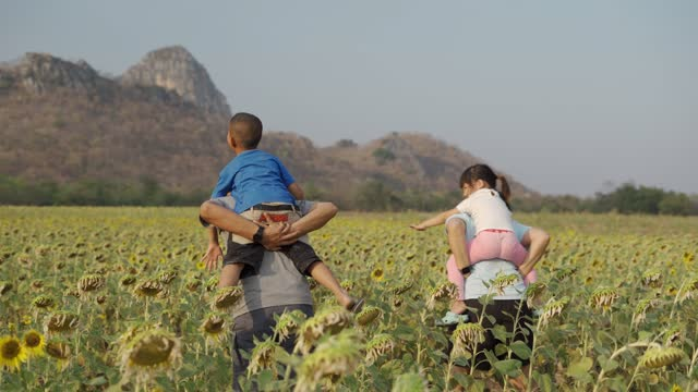 happy family walks little kid girl and boy on his shoulders which spreads hands to sides in crop sunflower