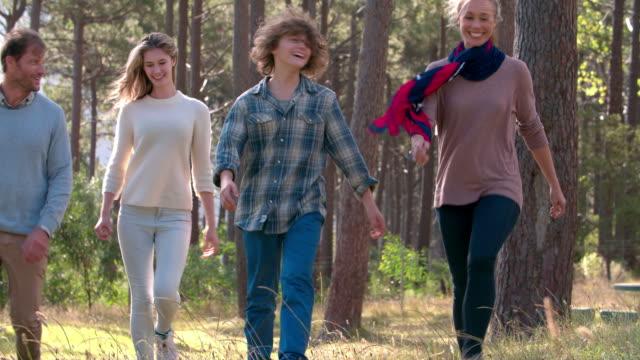 幸せな 10 代のお子様にもご家族には、田園地帯 - 対面点の映像素材/bロール