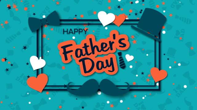 vídeos de stock, filmes e b-roll de fundo do dia de pai feliz com chapéu, bigode e corações - fathers day