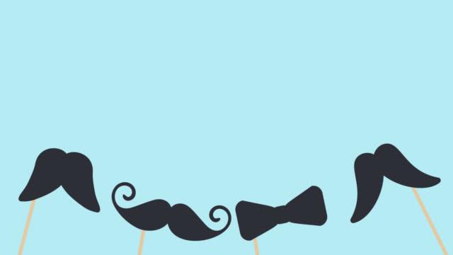 vídeos de stock, filmes e b-roll de feliz dia dos pais isolado texto caligráfico animado com bigodes e gravata. cartão de saudação do dia dos pais desenhado à mão. imagens de vídeo para o pai - dia dos pais