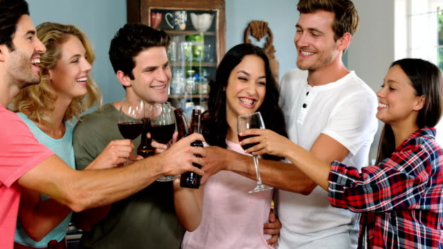 Happy friends cheering with wine glasses video