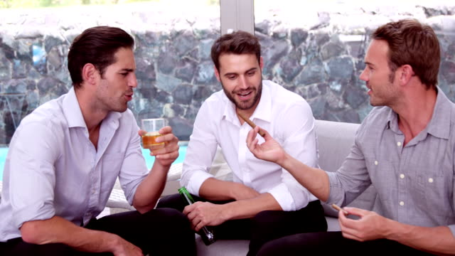 amici felici a bere e con sigari - sigaro video stock e b–roll