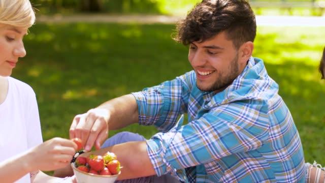 glückliche freunde essen erdbeeren im sommer-picknick - teenage friends sharing food stock-videos und b-roll-filmmaterial