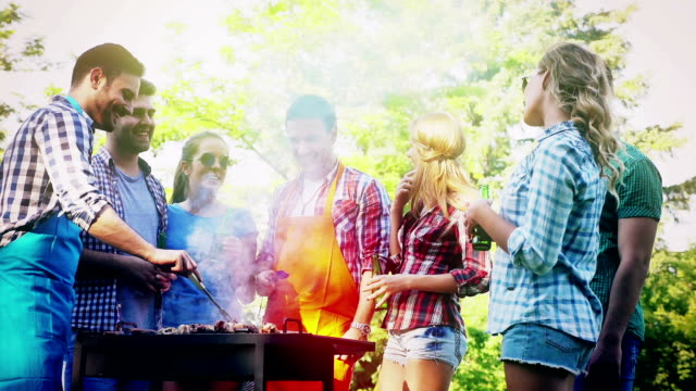 Happy friends enjoying barbecue party video