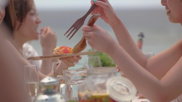 幸せな友人のビーチで昼食します。 - アジア旅行点の映像素材/bロール