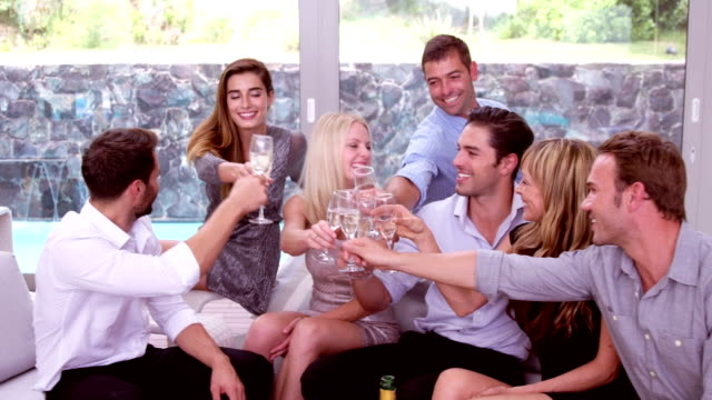 счастливый друзей тоста с шампанским - 30 39 лет стоковые видео и кадры b-roll