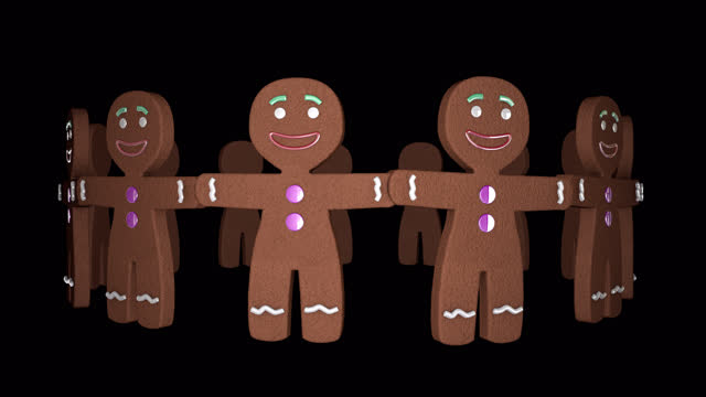 Happy Gingerbread Men Cookies Endlessly Rotating In Seamless Isolated Video Loop A happy circle of Gingerbread Man cookies rotates endlessly. A joyous looping video background for Christmas! gingerbread man stock videos & royalty-free footage