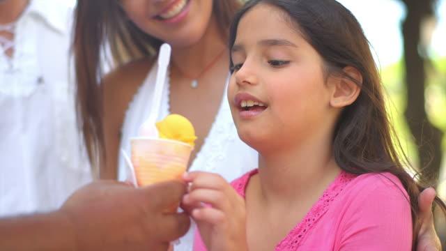 Happy girl gets ice cream video