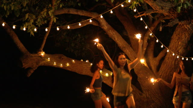 Video Happy girlfriends women group playing sparklers at beach, Friendship concept with young female friends enjoying time and having genuine fun at camping