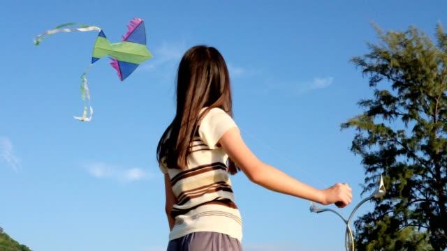 Happy Girls With Color Kite.