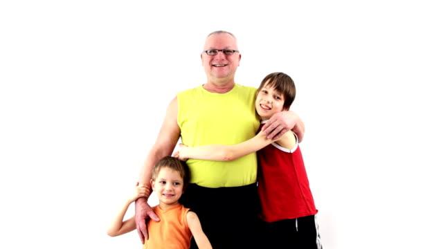 Happy grandfather and grandchildren. Good Relationship. video