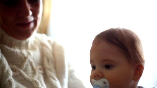 happy grandma with grandson video