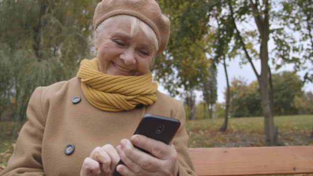 Happy granny typing message on smartphone, smile on face, family communication Happy granny typing message on smartphone, smile on face, family communication park bench stock videos & royalty-free footage