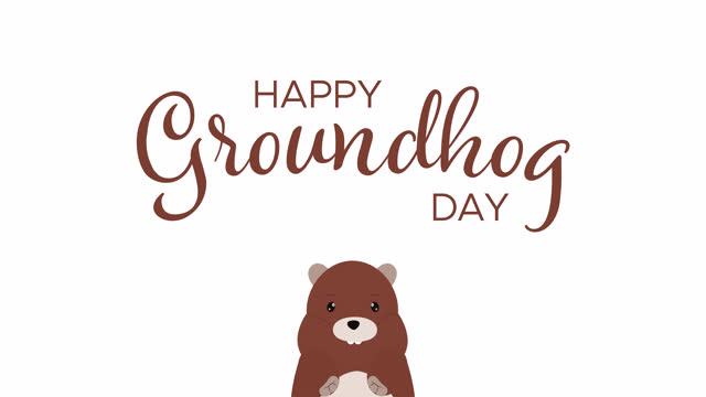 Happy Groundhog Day Handwritten Animated Text With Cartoon Marmot Happy Groundhog Day Handwritten Animated Text With Cute Cartoon Marmot groundhog day stock videos & royalty-free footage