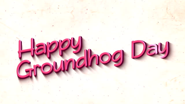 Happy Groundhog Day in 3D Text Background Happy Groundhog Day greeting text with particles in 4K (3840x2160px). groundhog day stock videos & royalty-free footage