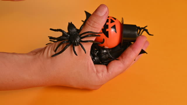 Happy halloween! A man holds different toys for Halloween in his hands. High quality 4k footage