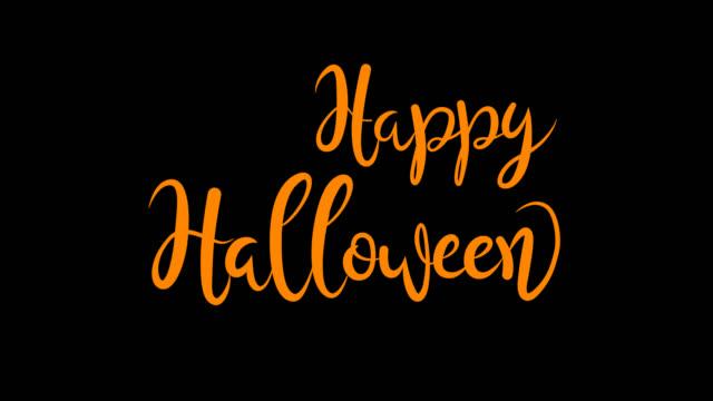vídeos de stock, filmes e b-roll de lettering animated de halloween feliz em letras alaranjadas e no fundo preto. - halloween