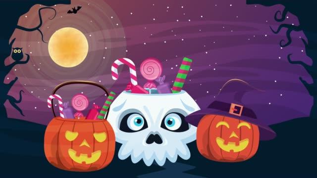 快樂萬聖節動畫場景與南瓜糖果在晚上。 - halloween candy 個影片檔及 b 捲影像