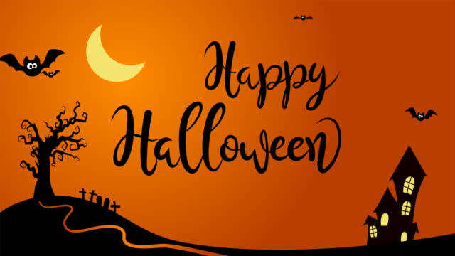 Happy Halloween animated text in a cartoon style background with bats, tree, house and spider.