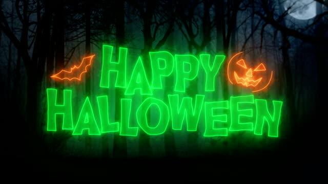 happy halloween-animation-schleife / dark forest-hintergrund - halloween stock-videos und b-roll-filmmaterial
