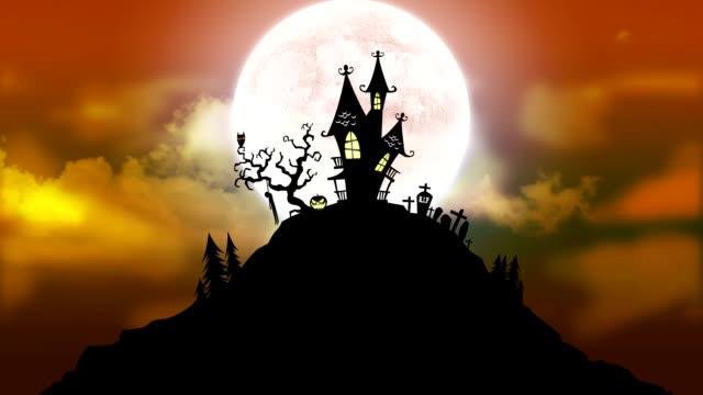 ハッピーハロウィン背景のアニメーション、ムーン、お化け屋敷 2 - ハロウィーン点の映像素材/bロール