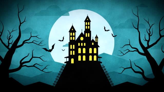 happy halloween forest mountain castle bats - halloween стоковые видео и кадры b-roll