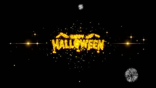 ゴールデン花火ディスプレイ2でハッピーハロウィンゴールデンテキスト点滅粒子 - ハロウィン点の映像素材/bロール