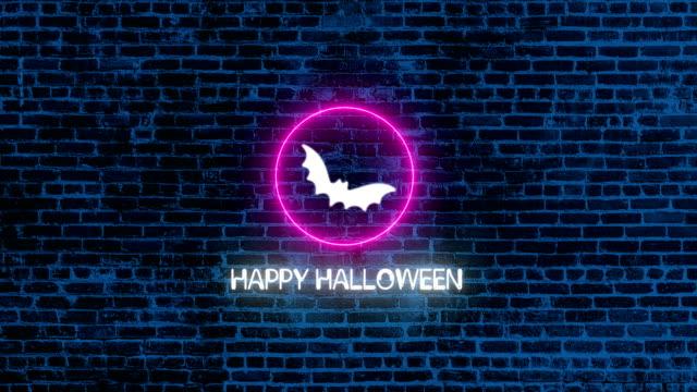 4K Happy Halloween Neon Sign on Brick wall |Loopable