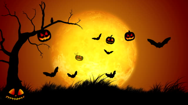 happy halloween-nahtlose loop - halloween stock-videos und b-roll-filmmaterial