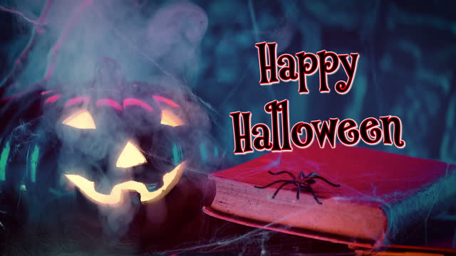 Happy Halloween text and decoration with Jack O' Lantern