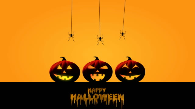 Happy Halloween with pumpkins, bats and spiders. 4k animation.