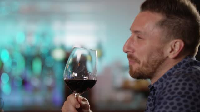 Happy Handsome Man Drink Wine 4K slow motion video