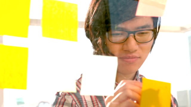 Happy hipster writing on sticky note video