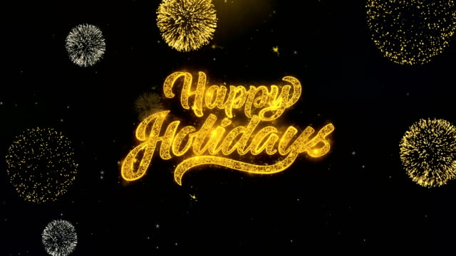 happy holidays 2 sky firework written gold particles exploding fireworks display - happy holidays stock videos & royalty-free footage