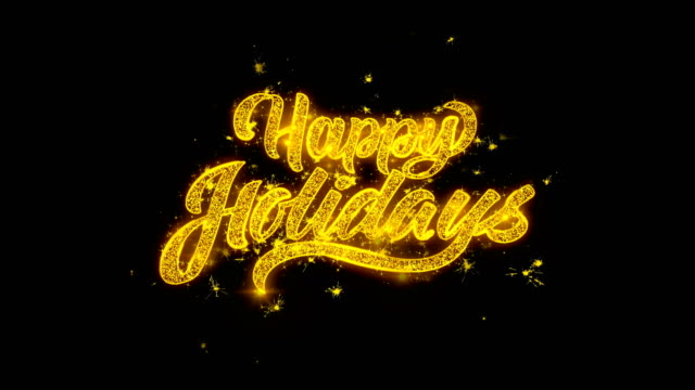 happy holidays 2 spark text typography written with golden particles sparks fireworks - happy holidays stock videos & royalty-free footage